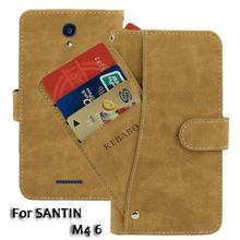 Vintage Leather Wallet SANTIN M4 6 Inch Case Flip Luxury Card Slots Cover Magnet Stand Phone Protective Bags