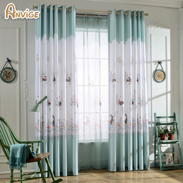 Pastoral Window Curtains For Living Room/ Bedroom Printed Half Blackout  Curtains Window Treatment /drapes