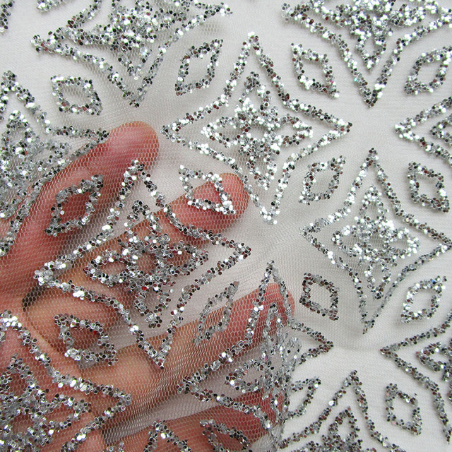 Star New Silver Glitter Sequin Mesh Fabric French Shining Sexy Wedding dress  Apparel Prom dresses Lace Fabric Sewing Tecidos c29ab9e78000