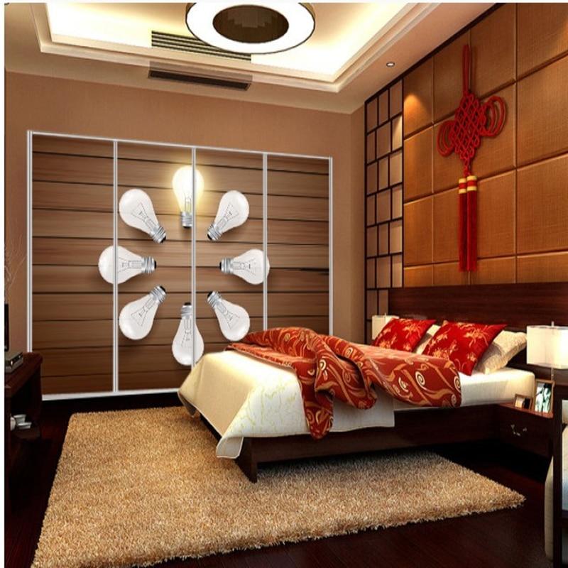 Custom TV sofa backdrop 3D light bulb large mural wallpaper non-woven fabric wall paper bedroom living room Continental