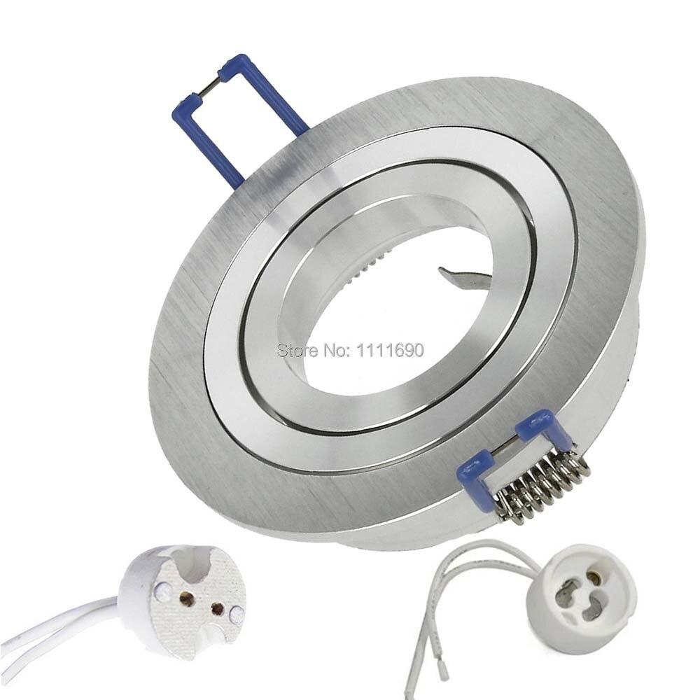 Construído-no refletor, diodo emissor de luz e halogênio gu10 mr16 installationpot ponto redondo metal cetim ideal para montagem + soquete mr16, linha led