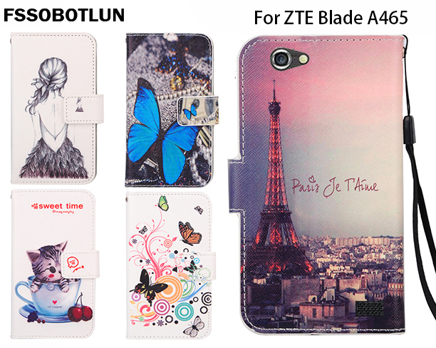 FSSOBOTLUN,For ZTE Blade A465 5.0 Phone Flip Case Fashion Painting Patterns PU Leather Wallet Stand Cover With 2 Card Slots