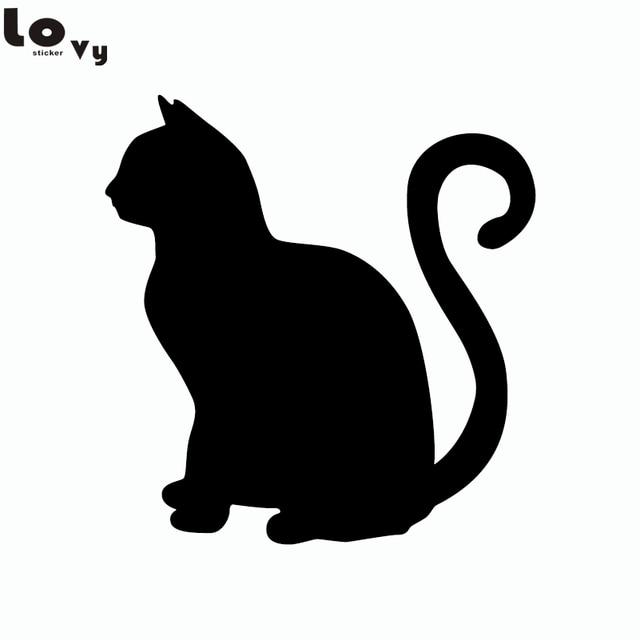 Sitting Cat Vinyl Wall Sticker Cartoon Cat Silhouette
