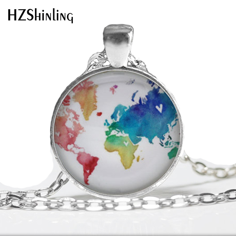 1 Pc World Map <font><b>Necklace</b></font>, Rainbow Multicoloured Map Jewelry, Glass Dome Jewelry Rainbow <font><b>Necklace</b></font> HZ1