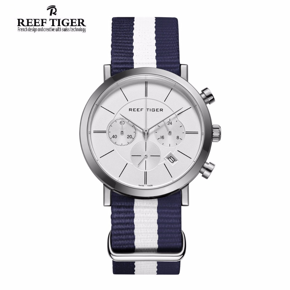 Reef Tiger/RT Fashion Casual Military Watch for Men Chronograph Stainless Steel Nylon Strap Wrist Watches RGA162 yn e3 rt ttl radio trigger speedlite transmitter as st e3 rt for canon 600ex rt new arrival