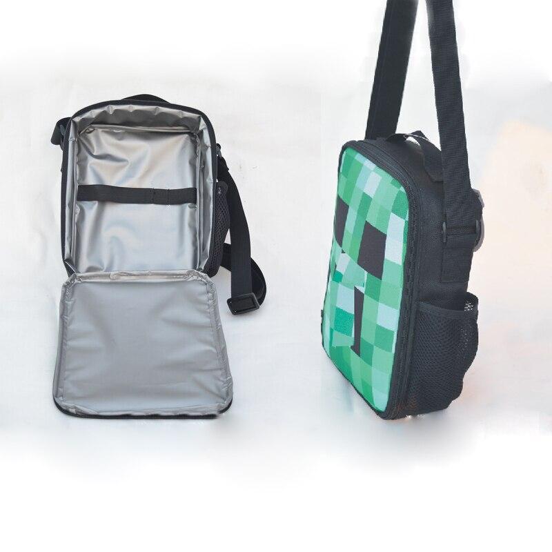 Ehrlich Cartoon Minecraft Mittagessen Tasche Jugendliche Sollte Tasche Kreuz Körper Handtasche Anime Spiel Meine Welt Grün Lunch Box Kinder Geschenk Fein Verarbeitet