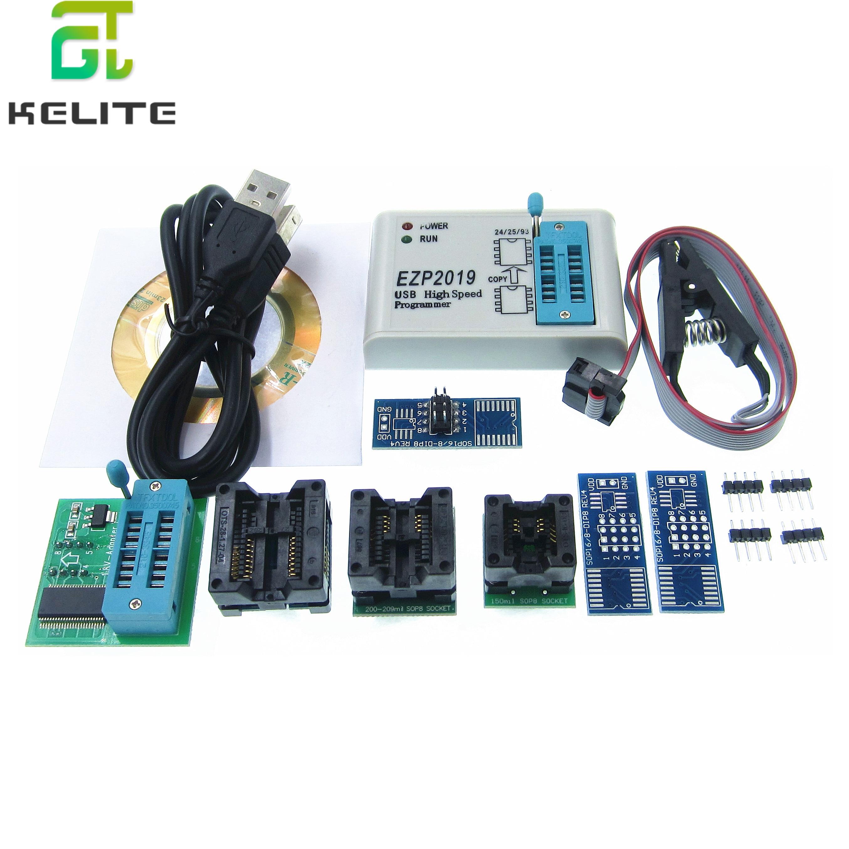Programmeur USB haute vitesse EZP2019 avec 6 prises en charge 24 25 26 93 EEPROM 25 prise en charge de la puce bios flash WIN7 & WIN8 EZP2013 EZP2010