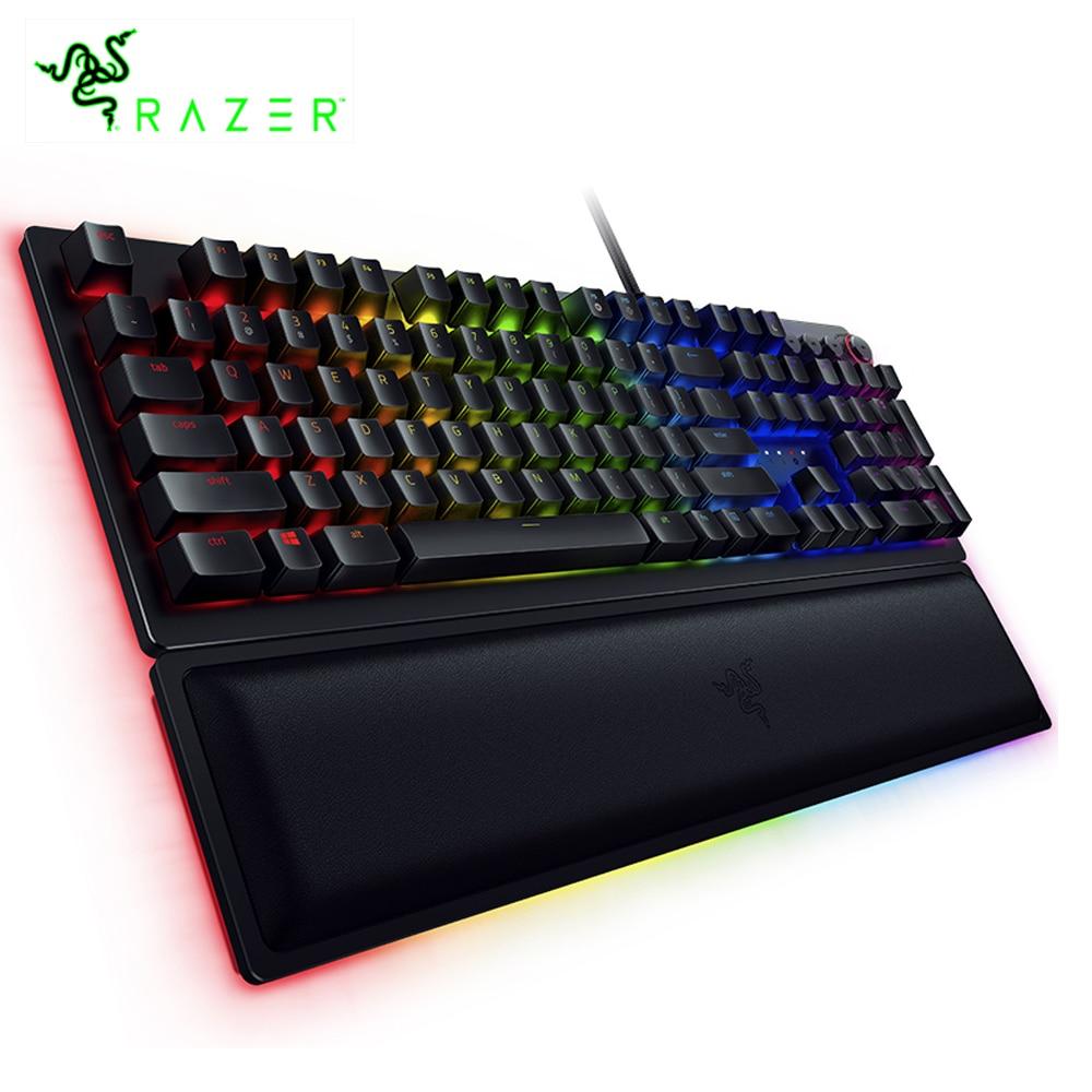Razer Huntsman Elite Wired Mechanical Switches Gaming Keyboard RGB Backlit Ergonomic Wrist Rest Tactile Keyboard Gaming
