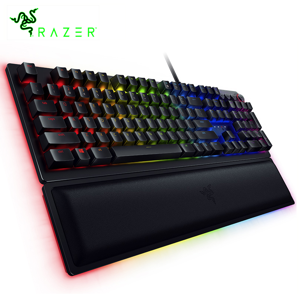 Razer Huntsman Elite Wired Mechanical Switches Gaming Keyboard RGB Backlit Ergonomic Wrist Rest Tactile Keyboard Gaming For PC