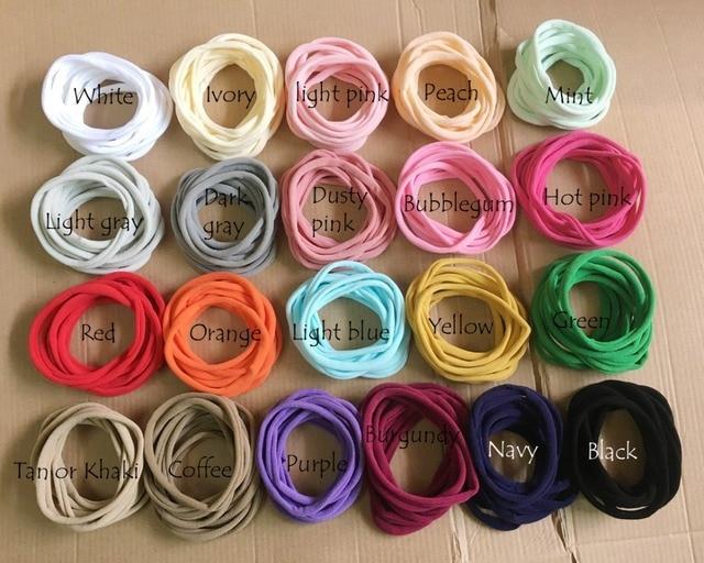 100 adet/grup, yeni düz renk naylon elastik bantlar süper yumuşak ve işaretsiz, Traceless bebek kafa bantları