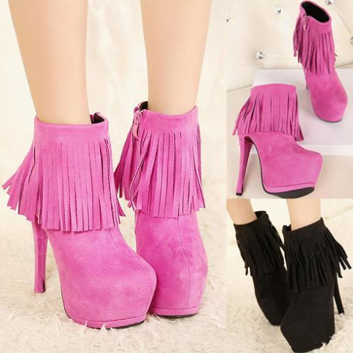 Womens Ankle Boots High Heels Platform Fringe Faux Suede Stilettos