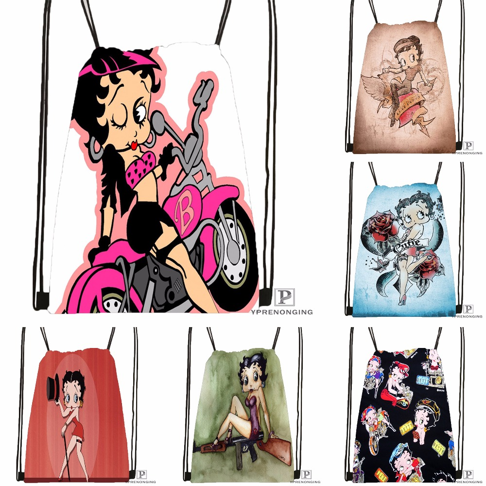 Custom Fashionable Betty Boop Drawstring Backpack Bag Cute Daypack Kids Satchel (Black Back) 31x40cm#180531-02-55