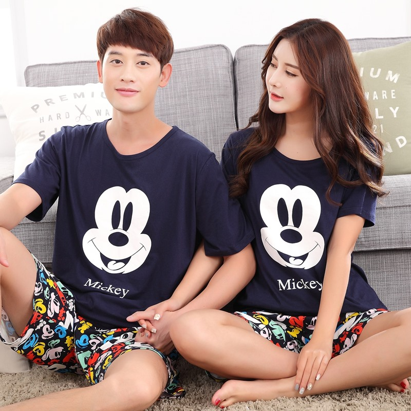 Summer Men Pyjamas Short Sleeved Casual Couple Cartoon   Pajama     Sets   Sleepwear Suit Plus Size 5XL Homewear Pyjama Fashion