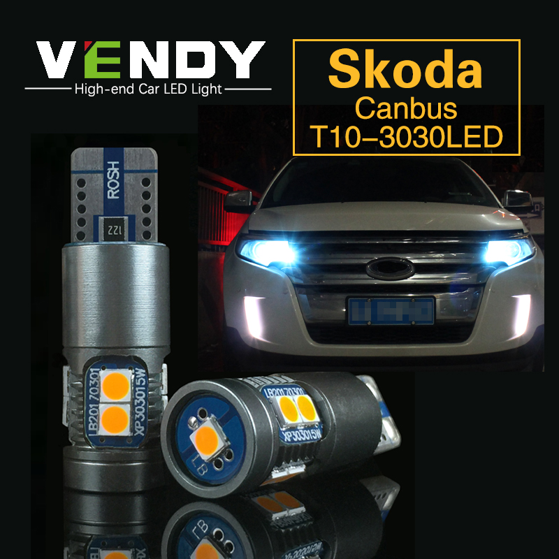 2x W5W T10 Car LED Clearance Light Parking Sidelight Canbus Bulbs Auto Lamp For Skoda Superb Octavia A7 A 5 2 Fabia Rapid Yeti 2x t10 led w5w car led auto lamp 12v clearance parking light bulbs with projector lens for mercedes benz w203 glk r ml w204 c e