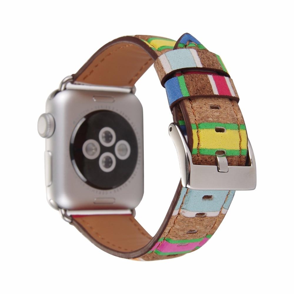 Pour Apple Bracelet de montre en cuir Grain de bois montre intelligente Bracelet pour Apple montre série 1 2 3 38-42mm iWatch Bracelet bracelets