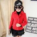Осень и Зима Девушки Двойной Грудью Пальто Шерстяное Толстые Корейские Дети Clothing Красный