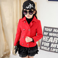 Autumn and Winter Girls Double Breasted Coat Woolen Thick Korean Kids Clothing Red