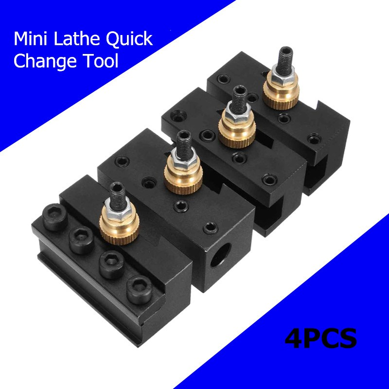 4pcs Mini Quick Change Tool Post Holder Mini Lathe Cut Off Blade Toolholders Set Boring/Facing/Turning Holder For Lathes Tools free shiping smbb 2526 part off block indexable parting off tool stand holder 25mm high blade 26mm tool post for lathe