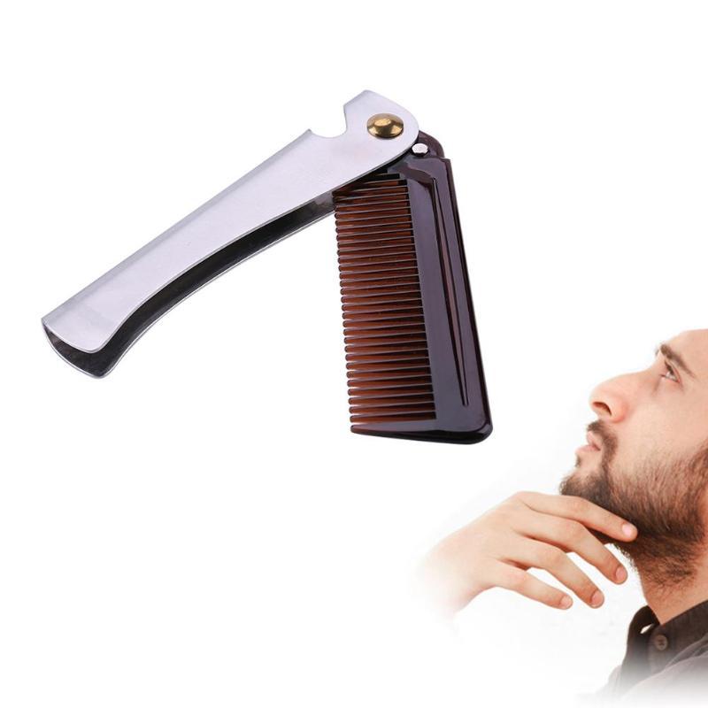 1pc Stainless Steel Beard Comb Metal Plastic Folding Bottle Opener Wide Teeth Comb for Men Hair Beard Trim Tools hair brush 2
