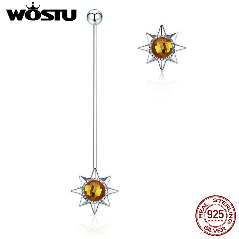 WOSTU Brand New Luxury 100% 925 Sterling Silver Asymmetrical Sun Fashion Drop Earrings For Women Fine Jewelry Gift CQE061 wostu brand original 925 sterling silver lucky sunflower drop earrings for women female fashion earring jewelry gift dxe461