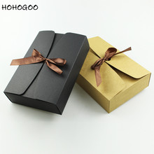HOHOGOO 10pcs/lot 20.8cm kraft Packaging Boxes Wedding Engagement Candy Box Ramadan Halloween Party Gift Brown Black Color