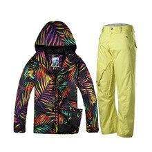 Gsou snow pantalones de camuflaje chaquetas de snowboard traje de esquí establece hombres chaqueta esqui hombre veste ropa de esquí ropa de esquí de montaña