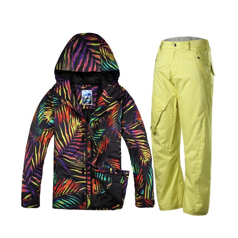 Gsou snow pantalones de camuflaje chaquetas de snowboard traje de esquí establec