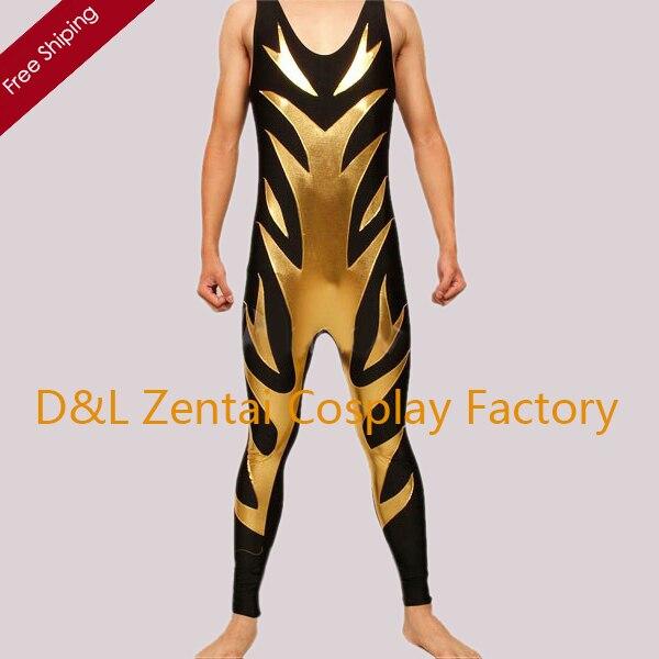 Gratis Verzending Dhl Fashion Mix Kleur Zwart En Goud Glanzend Metallic Catsuit Fantasie Evenementen Kostuum Shs403 Complete Reeks Artikelen