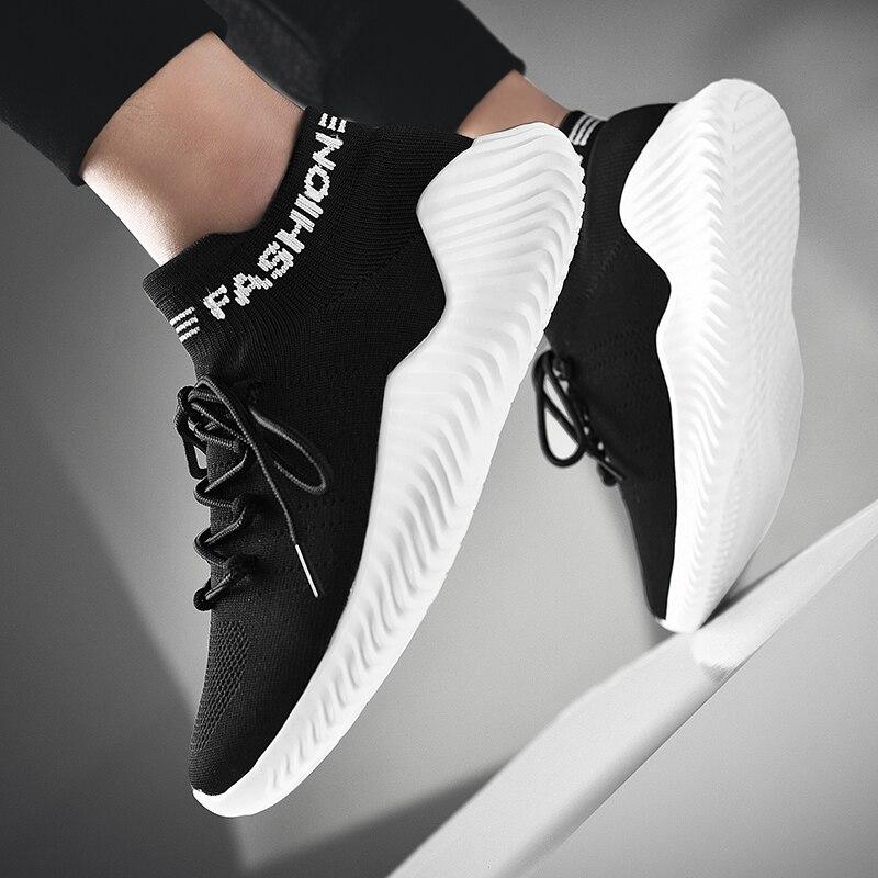 df160d4166c Bonjean 19 zapatos de moda de hombre de moda amortiguación cómodos  zapatillas de deporte de carrera de luz de hombres de malla Popular aumento  Flyknit ...