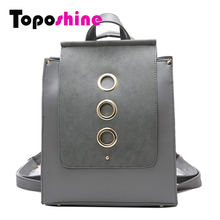 Toposhine 3 anillo grande de metal matorrales de cuero de la pu mujeres mochila mochilas escolares para adolescentes mochila portátil de la vendimia 1626