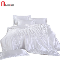 100% Mulberry Silk Bedding Outlet Pure Color Bedding Sets Flat Sheet Duvet Cover Pillowcase Queen King Size 3pcs/4pcs Summer Use