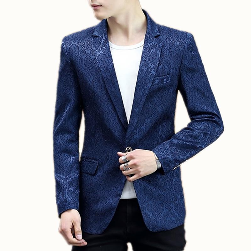 Americana Hombre 2018 Fashion Male Casual Men Blazer Masculino Slim Fit Long Sleeve One Button Veste Homme Costume Mens Blazers