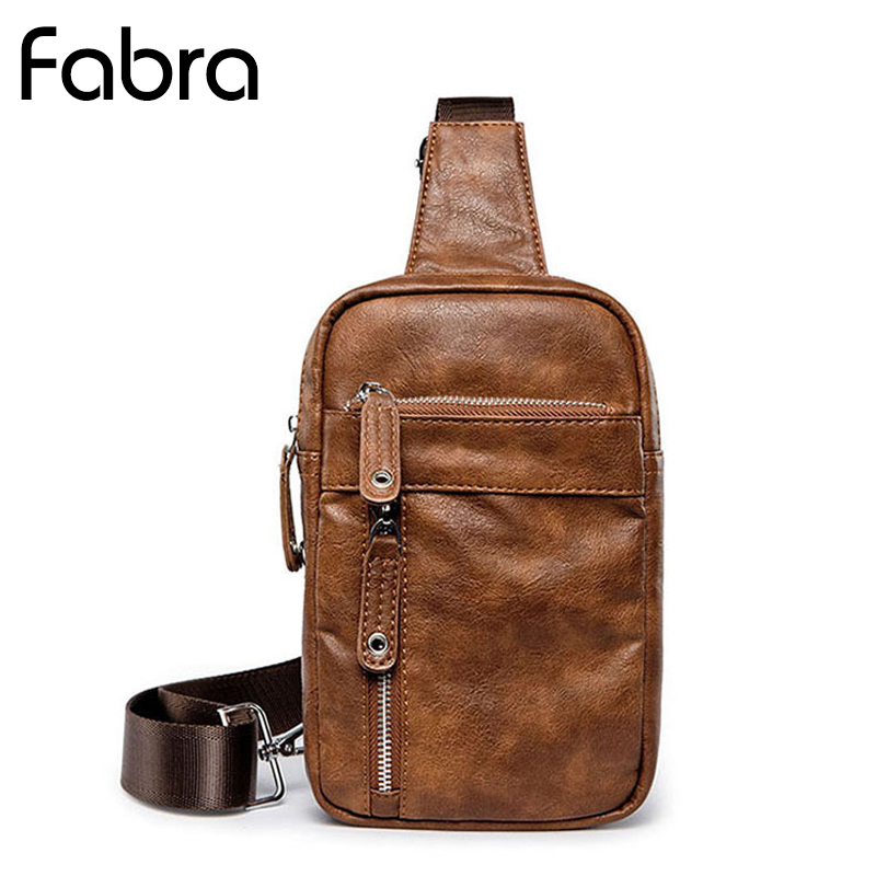 Fabra New Men Crossbody Chest Pack Bags Business Male Shoulder Bag Anti-theft Chest Bag Small Travel Messengers Sling Bag Brown