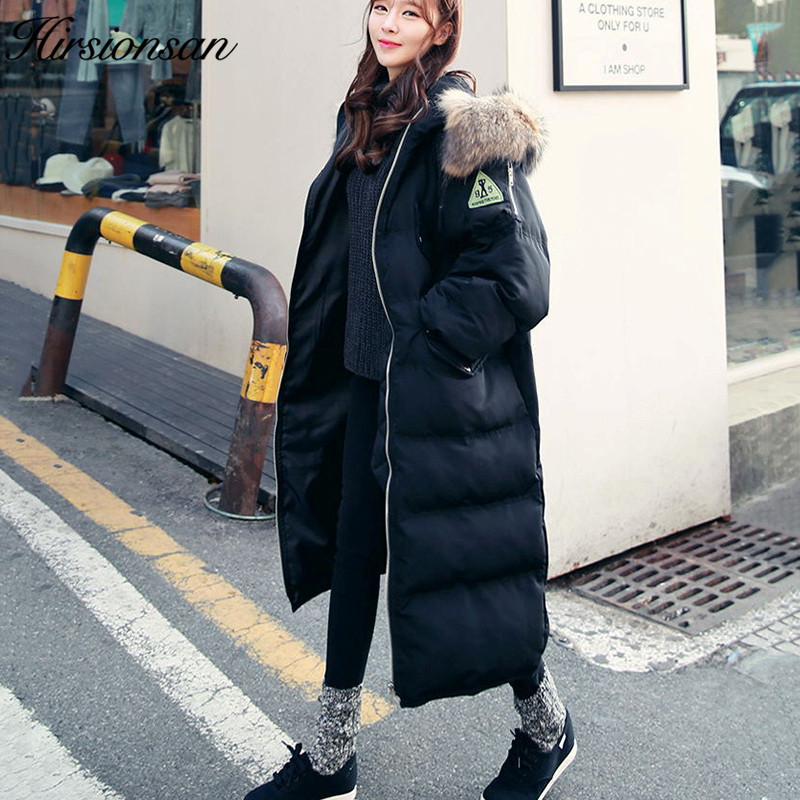 Hirsionsan Winter Jacket Women 2017 Hooded Long Parkas Korean Fashion Raccoon Fur Female Black Coat Outwears Thick Warm Parkas цены онлайн
