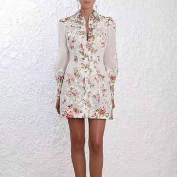 High Quality 2019 newest Autumn Women Dress Long Sleeve Embroidery Flower Turn-down Collar Blouse Dress Women Elegant Dress - Category 🛒 Women\'s Clothing