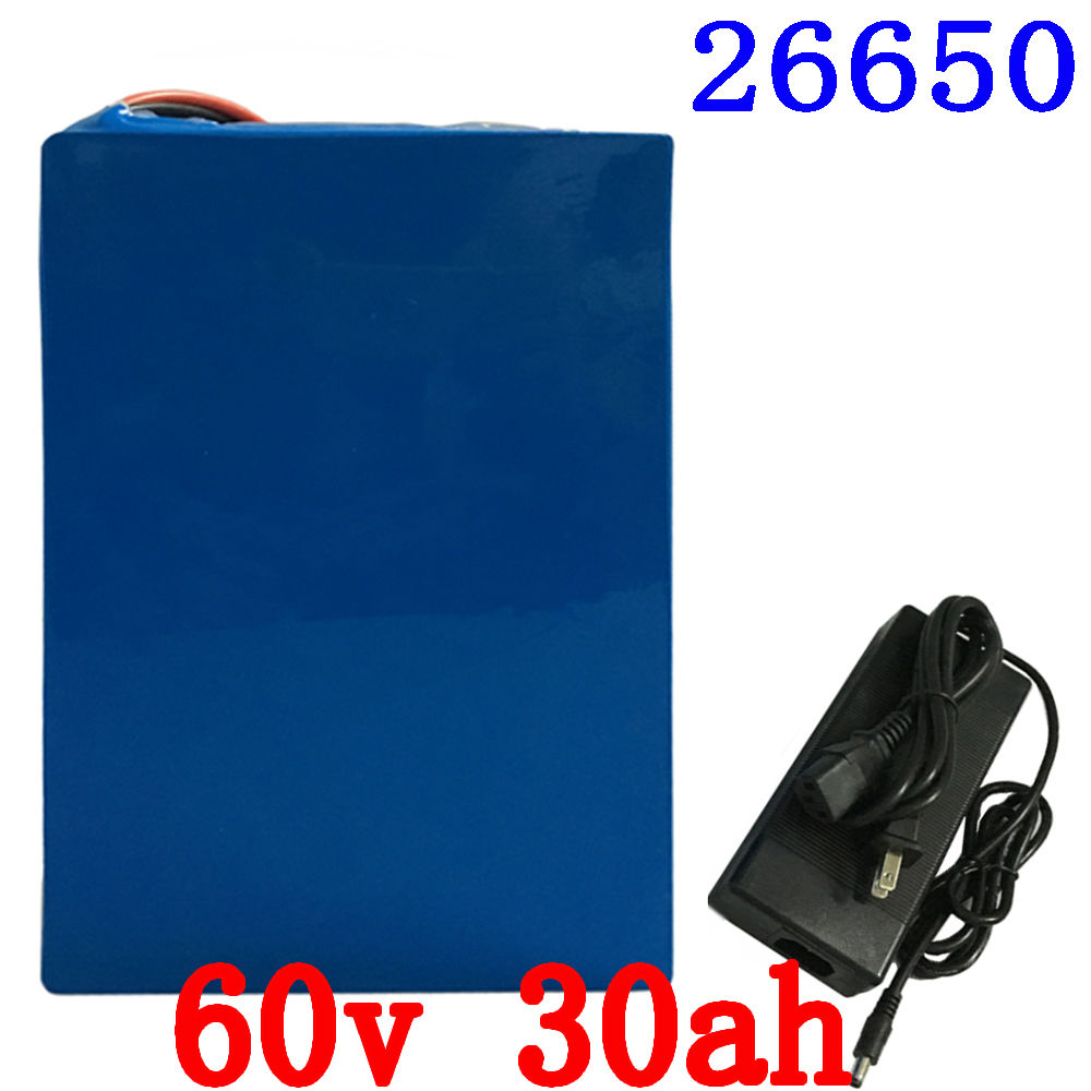 Free Shipping 60V 30Ah 2000W High Capacity Electric Bike Battery Built-in 50A BMS Lithium Battery Pack 60V With 5A Charger free customs taxes super power 1000w 48v li ion battery pack with 30a bms 48v 15ah lithium battery pack for panasonic cell