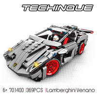 Technics speed Champion racing building block bull logo brand Lambor veneno super sport car bricks racer figures pull back toys