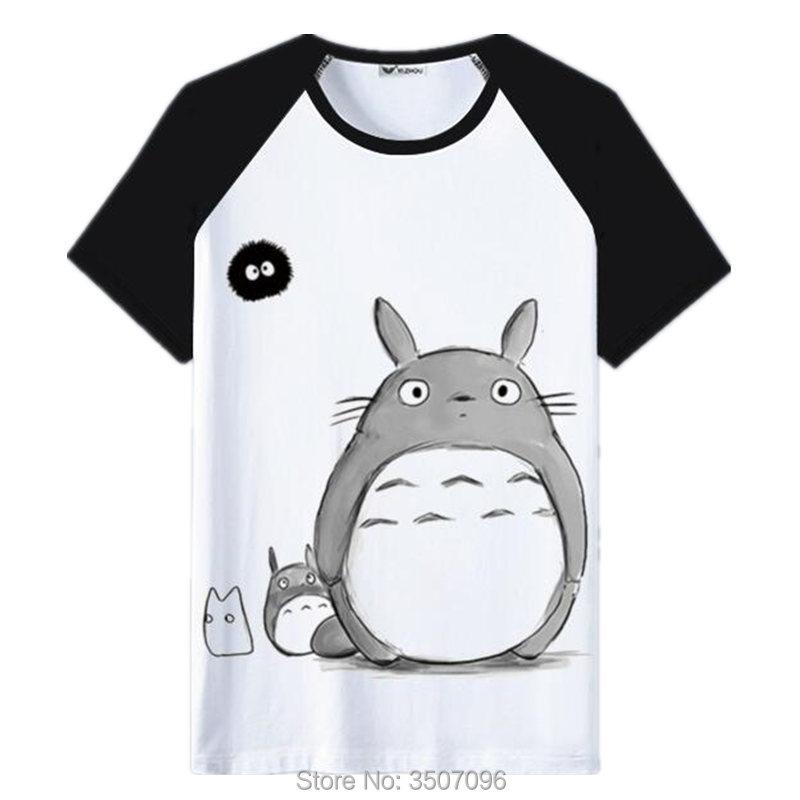 Harajuku tshirt women Anime Totoro Kawaii Tops femininas Summer Tops Patchwork Casual Shirt Unisex T-shirt