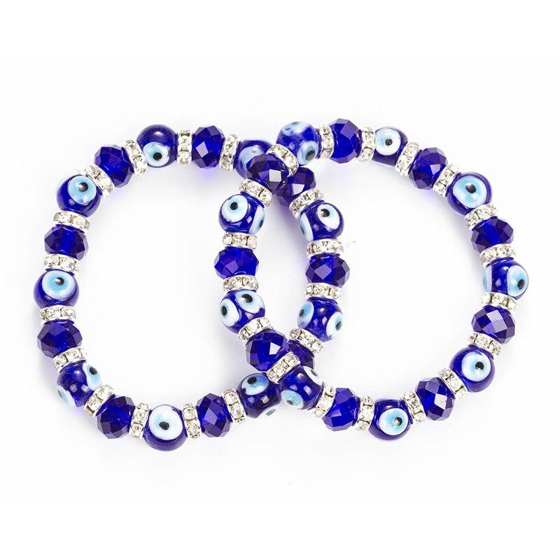Wish Card Blue Evil Eyes Lucky Glass Beads Bracelet For Women Men Jewelry Horseshoe Turkish Prayer Strand Bracelet Gift EY5226 4