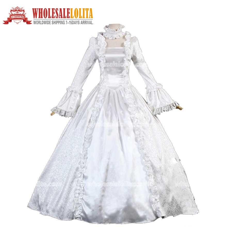Viktoriánské Gothic Cosplay Saténové princezny šaty Plesové šaty Fáze oblečení Fáze Vintage Šaty