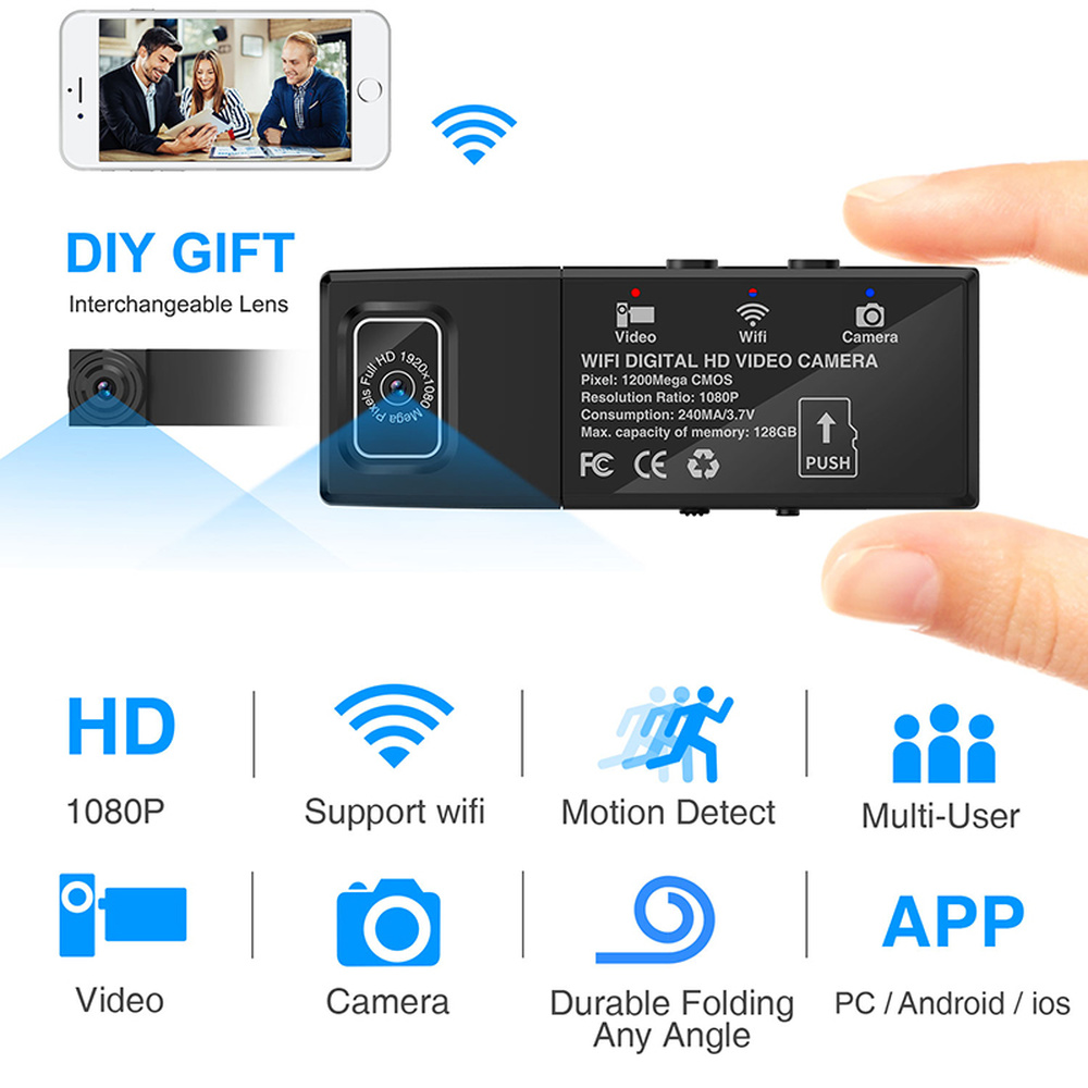 HD 1080 P mini caméscope WiFi Mini caméra DVR P2P sans fil deux Micro caméra enregistreur vidéo télécommande sq8 sq11 pour xiaomi