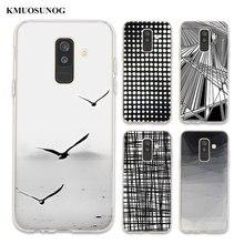 цена на Transparent Soft Silicone Phone Case Black White Lattice For Samsung Galaxy A6 A6+ A9 A8 Star A8+ A7 A5 A3 Plus 2018 2016