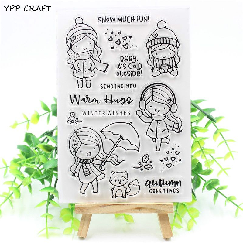 YPP CRAFT Winter Wishes Transparent Clear Silicone Stamp/Seal for DIY scrapbooking/photo album Decorative clear stamp about lovely baby design transparent clear silicone stamp seal for diy scrapbooking photo album clear stamp paper craft cl 052