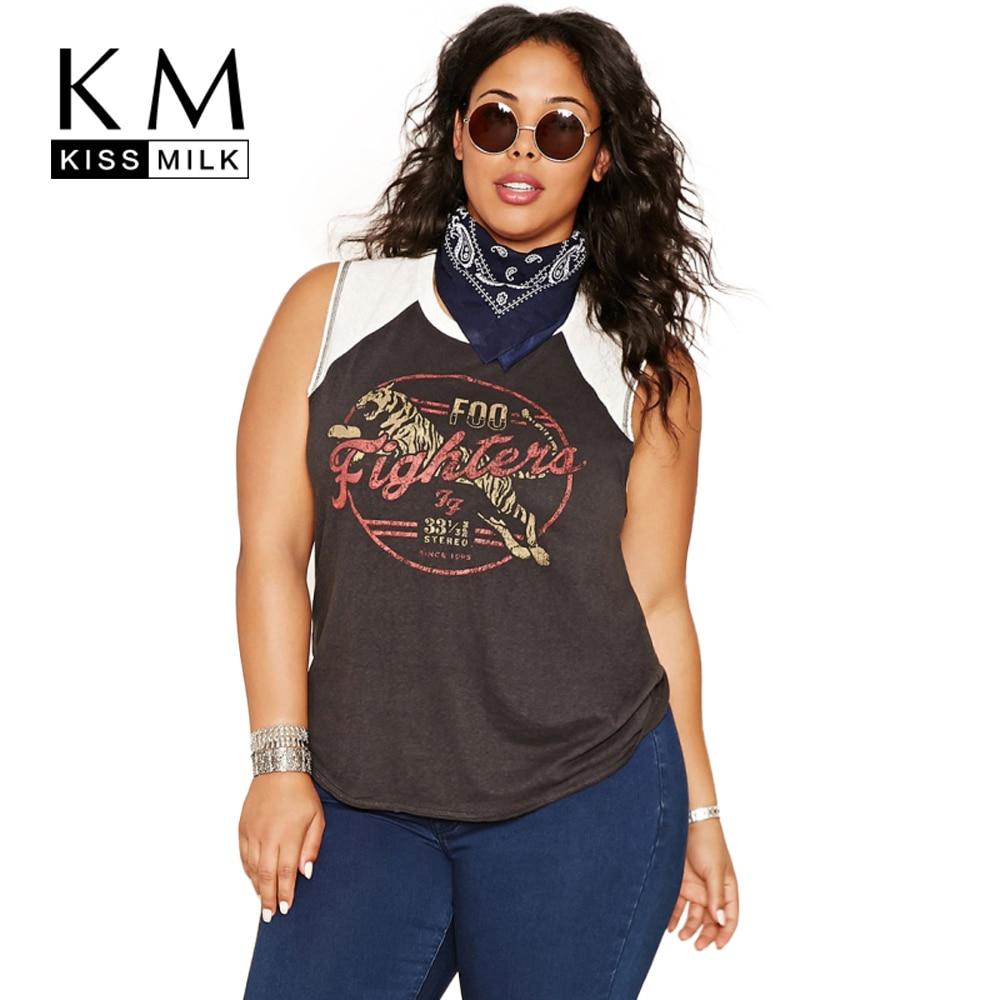 Kissmilk Fesyen Baru Ukuran Plus Wanita Pakaian Kasual Solid O Leher