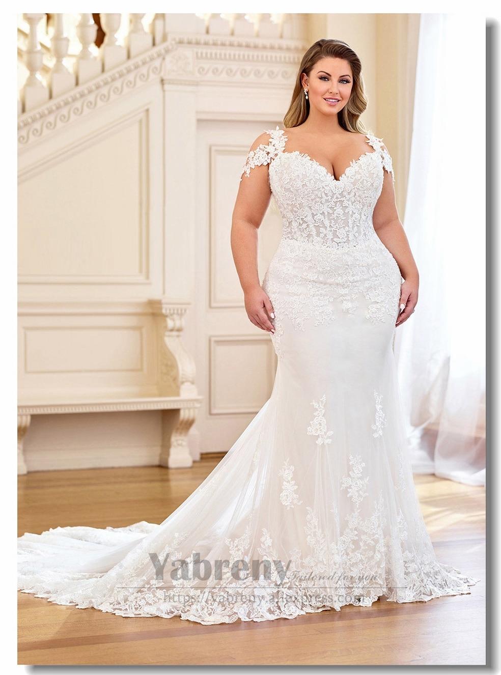 Plus Size Sheath Wedding Dresses With Train