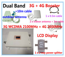 Dual Band 3G WCDMA 2100MHz & 4G BAND 7 2600MHz Mobile Phone Signal Booster 3G 4G Signal Repeater Amplifier cover two rooms