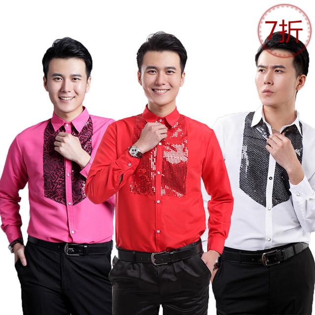 Algodón de los hombres camisas de manga larga lentejuelas Del Padrino de boda ropa de baile camisa puesta en escena de teatro juvenil Camisas de ropa de coro
