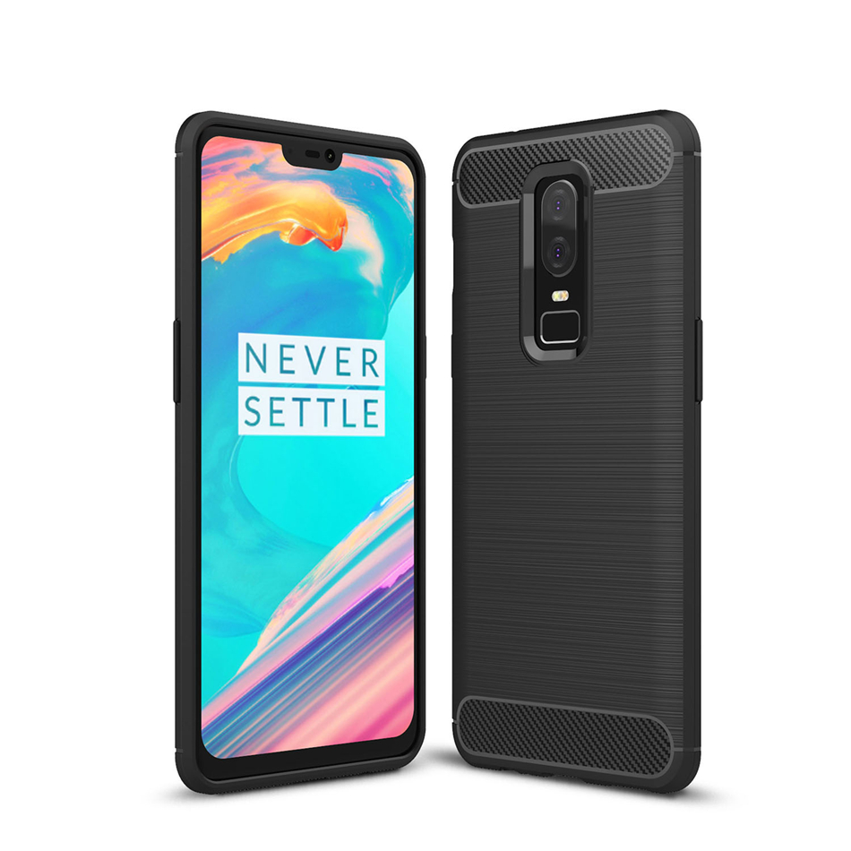 Rugged Soft Armor Phone <font><b>Case</b></font> for <font><b>OnePlus</b></font> 7T 7 Pro 6 6T 5 <font><b>5T</b></font> <font><b>Slim</b></font> Shell Perfect Fit Carbon Fiber Shockproof Protective Back Cover image
