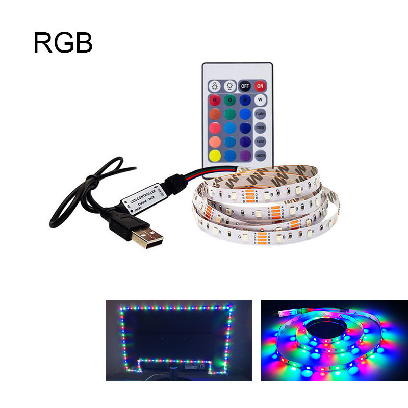 DC5V SMD3528 LED Strip Light USB TV Background Lighting  Stripes White Flexible Led Tape Desk Decoration Lighting Tv Led Strips