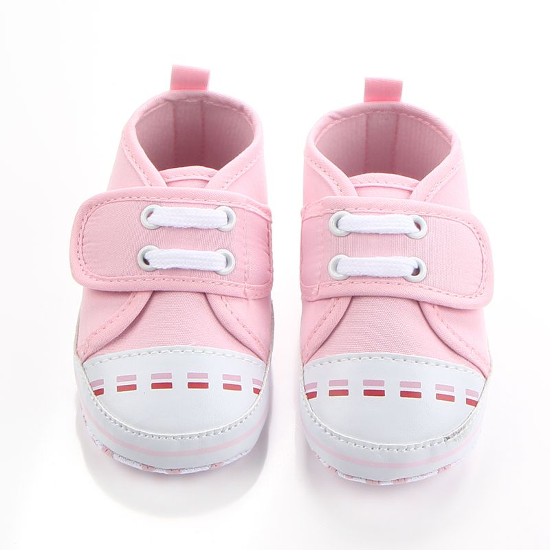 New Arrival Non-slip Double Stripe Toddler Solid Canvas Leisure Baby Girl Boy Shoes For 0-15 Months